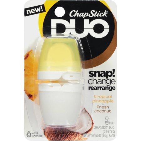 ChapStick Duo Blister Card, Tropical, Pineapple/Coconut, 0.4 Ounce