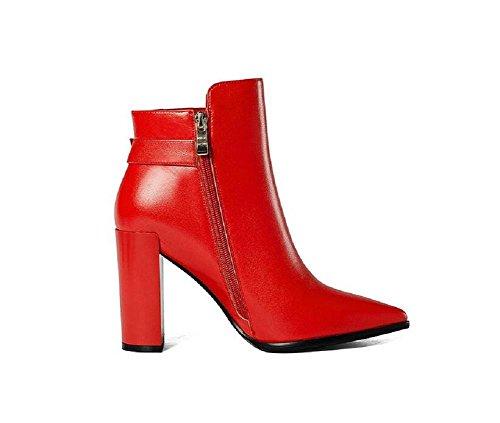 Greggio donna in scarpe Slim alto Boot RED pelle punta alla 36 caviglia 36 tacco documentario stivali white stivali Or1qzO