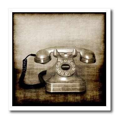 3dRose Carsten Reisinger Photography - Vintage telephone with modern dial grunge grungy abstract communication phone corded - 6x6 Iron on Heat Transfer for White Material (ht_155088_2) ()
