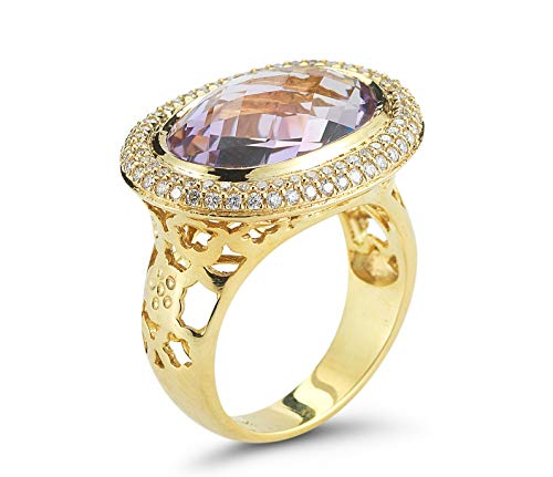 I REISS 14K Yellow Gold 13.37ct TGW Amethyst and Diamond Ring