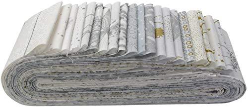 (Sparkle and Fade Snow Bali Poppy 20 2.5-inch Strips Jelly Roll Hoffman Fabrics SFPP-307-SNOW)