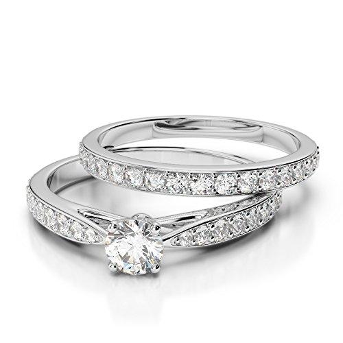 Or blanc 18carats faites CT G-H/VS sertie de diamants Coupe ronde de mariage Bague de fiançailles et ensemble de Agdr-2031