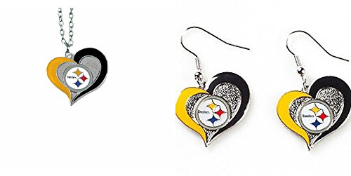 aminco Officially Licensed Swirl Heart Necklace and Earring Set Pittsburgh -