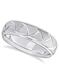 Comfort Fit Satin Finished Carved Wedding Band For Men in Palladium (7mm)
