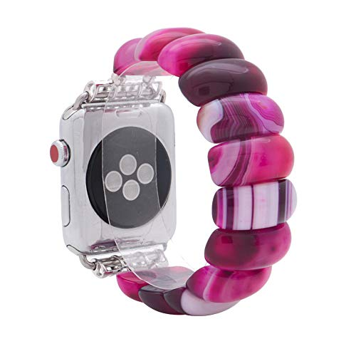 KAI Top Unique Handmade Beaded Elastic Stretch Natural Agate Fashion Bracelet Strap Women Girls,Compatible Apple Watch Band Series 3/2/1 38mm 42mm (Fuchsia Agate, 38mm)