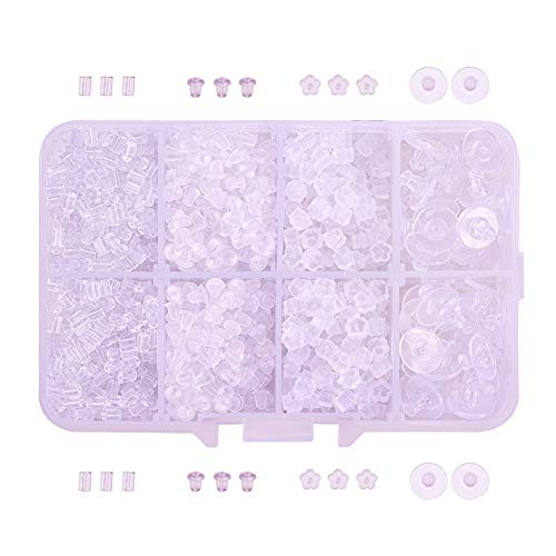 - BESTCYC 1Box (1670 Pieces) 4 Styles Clear Earring Backs Rubber Earring Safety Backs Stoppers Earring Clutch