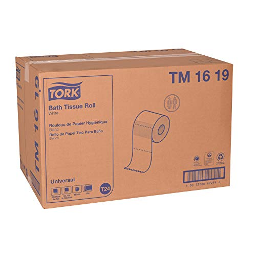 "Tork Universal TM1619 Bath Tissue Roll, 2-Ply, 4"" Width x 3.75"" Length, White, Green Seal Certified (Case of 96 Rolls, 500 Per Roll, 48,000 Sheets)"