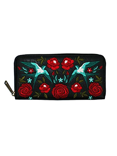 Embroidered Wallet (Loungefly Embroidered Swallows & Roses Tattoo Design Black Zip Around Wallet)