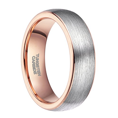 Two Rose Tone Ring (6mm Rose Gold Wedding Bands for Men Women Two Tone Brushed Tungsten Carbide Ring Comfort Fit Size 10)