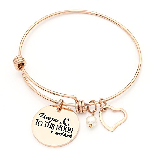 MONASOC Charm Bracelet i love you to the moon and back Expandable Pearl Bangle Gift jewerly For Women Girl Sister Mother Friends by MONASOC