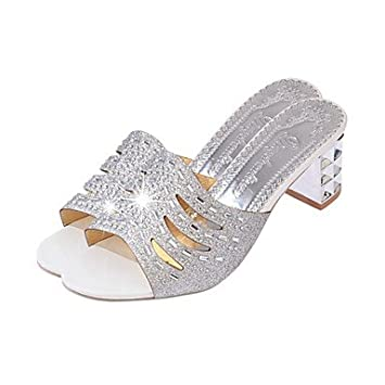 ce655354e6e RTRY Women S Sandals Light Soles Spring Pu Casual Sequin Block Heel Silver  Gold 2In-2