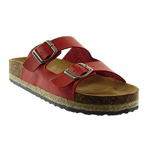 Angkorly Damen Schuhe Mule Sandalen - Slip-on - Kork - Schleife - Seil Keilabsatz High Heel 3.5 cm Rot