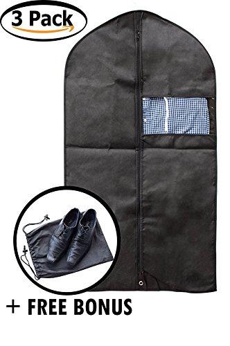 DZK Goods Garment Bag for Clothes - Set of 3 Black Comfortable Travel Suit Bag Perfect for Suits, Dress Storage - Waterproof Dust Resistant Zipped Suit Bag for Men - Free Bonus Shoe