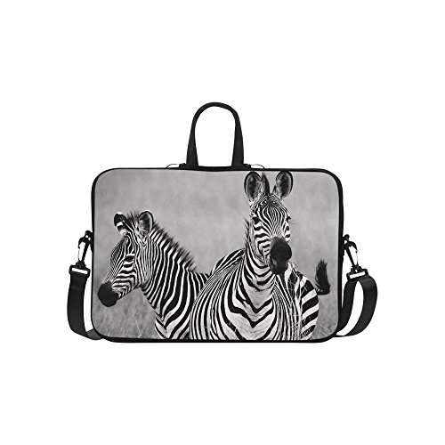 InterestPrint Black and White Zebra Shoulder Strap Computer Bag, Africa Wildlife Animal Neoprene Laptop Sleeve Case Cover for 15.6 Inch for Macbook Pro Air Dell HP Lenovo Thinkpad Acer Ultrabook