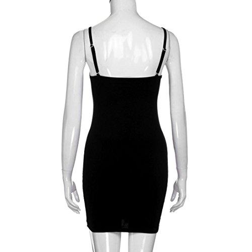 Winwintom Las Mujeres Visten SóLido Sin Mangas Cami Bodycon Mini Vestido Negro