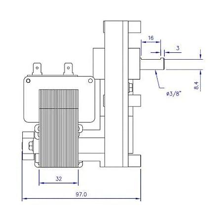 Motorreductor para estufa de pellets T3 2 rpm Pacco 25 mm árbol 9,5 mm Mellor - EDILKAMIN - Cola - Montegrappa - Adler - Arce - ecoteck - ecoforest: ...