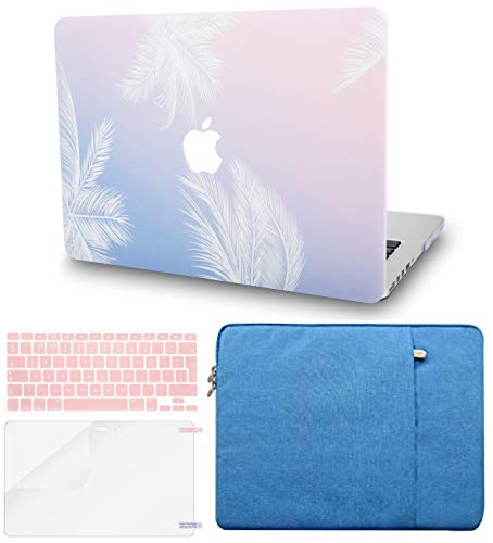 """KECC Laptop Case for MacBook Pro 13"""" (2020/2019/2018/2017/2016, Touch Bar) w/Keyboard Cover + Sleeve + Screen Protector (4 in 1 Bundle) Hard Shell A2159/A1989/A1706/A1708 (Blue Feather)"""