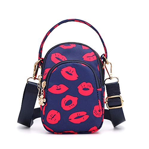 Travel Crossbody Bags Small Shoulder Bag Wallet Purse Cellphone Pouch Stylish Handbag 3 Layers Chest Pockets Flower Pattern For Women Love Hot Kiss