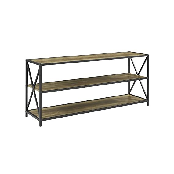 Cool We Furniture 60 Wood Tall Entryway Table Tv Stand Console 3 Tier Console Table Rustic Oak And Black Metal Bookshelf Sofa Table For Living Room Download Free Architecture Designs Rallybritishbridgeorg