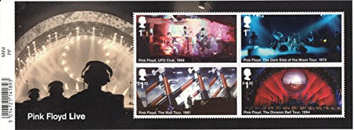 (Pink Floyd UFO Club, Dark Side of the Moon, The Wall, Division Bell Tours Sheet Collectible Postage Stamps Royal Mail)