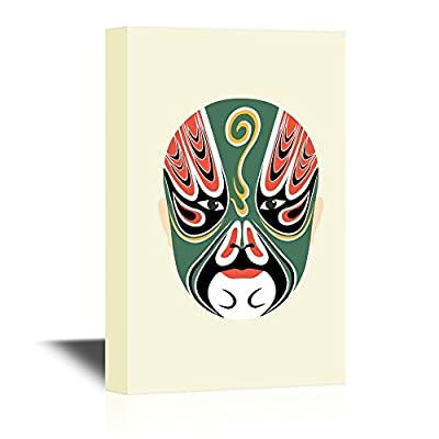 Chinese Culture Canvas Wall Art - Peking Opera Mask - Gallery Wrap Modern Home Art | Ready to Hang - 12x18 inches