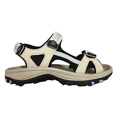 Revelation New Lady Cool Sandals Golf Shoes Beige/Blue Sz 7 M -Retail $99