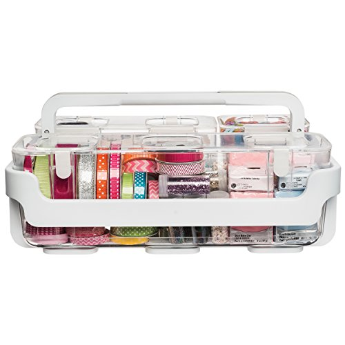 Stamp Caddy - Deflecto Caddy Organizer, Three Compartments, White (29003CR)