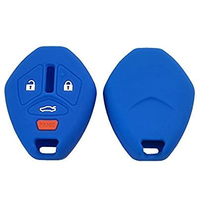 Keyless Entry Remote Silicone Protector Key Fob Cover Bag for Mitsubishi Eclipse Lancer Endeavor Galant Outlander Key Case (Black+Blue): Office Products