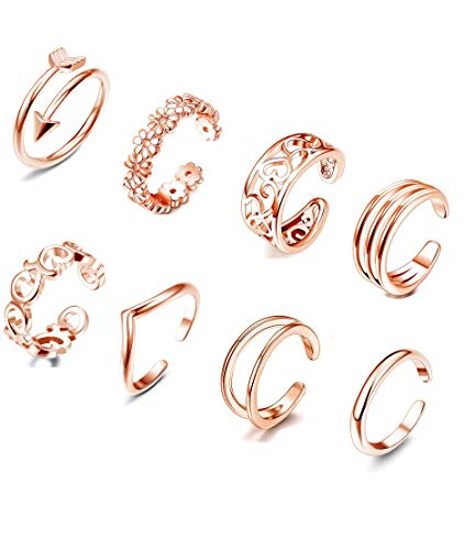 FIBO STEEL 8 Pcs Toe Rings for Women Girls Flower Open Tail Ring Adjustable Rose Gold-Tone