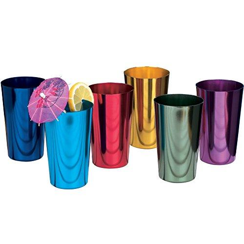 Bandwagon Retro Jewel Aluminum Colored Tumblers Cups Set of 6, Multi-colored, -