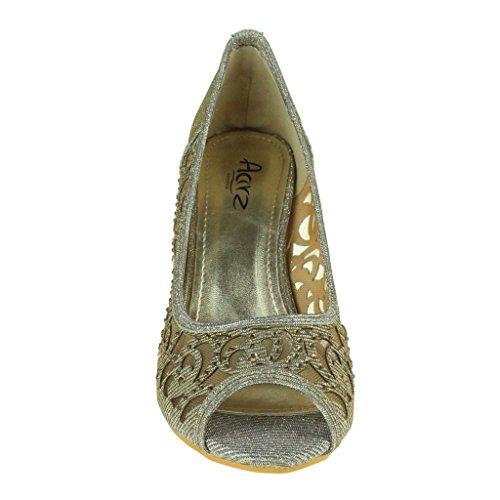Negro Champagne Tamaño de señoras Mujeres Aarz sandalia Plata tacón de tarde partido de del de zapatos Boda Estaño Prom Oro las peep toe Diamante los Marrón BvnvgH