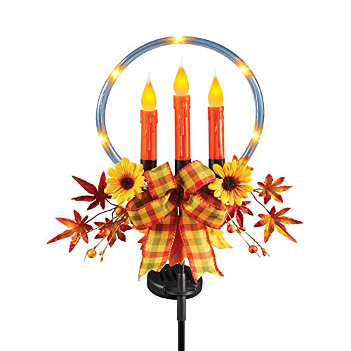 Solar Autumn Ring Candle Stake with Leaves, Berries, Sunflowers and a Plaid Bow