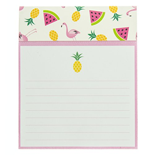 Notepad Summer (Graphique Summer Pattern Jotter Notepad, Pad of Paper w/ 250 Tearable Ruled Pages and Fun Fruit & Flamingo Design, Great for Kitchen Counters, Nightstands, Desks, and More, 4.5