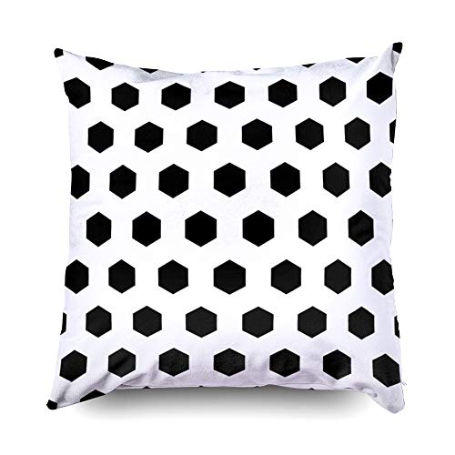 - Nap Pillow Case for Couch,Shorping Zippered Pillowcases 20x20 Pillowcase Throw Pillow Covers Honeycomb wallpaper Repeated black polygons tessellation on white background Seamless surface patter for Ho