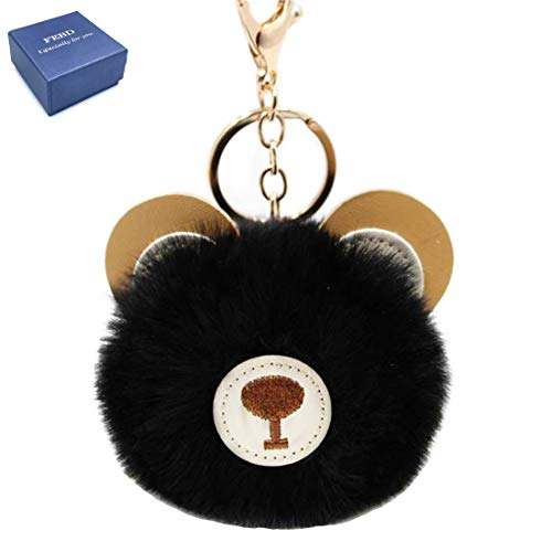 Women's Cute Bear Faux Fur Ball Pom Pom keychain Handbag Purse Plush Holder Keyring (Black)