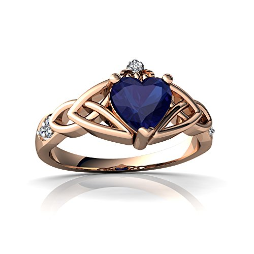 14kt Diamond Trinity Knot Ring - 14kt Rose Gold Lab Sapphire and Diamond 6mm Heart Claddagh Trinity Knot Ring - Size 6