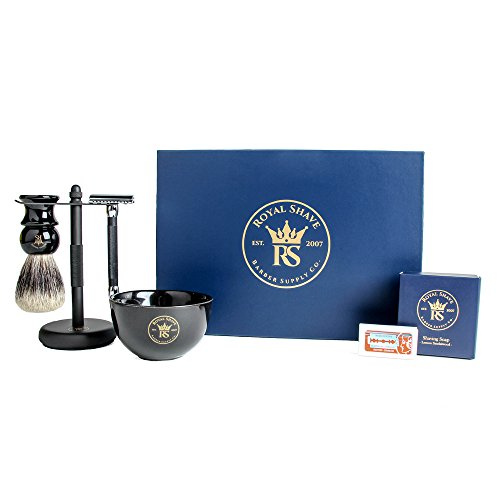 RoyalShave Black & Chrome Shaving Set - Stylish Safety Razor Set for...