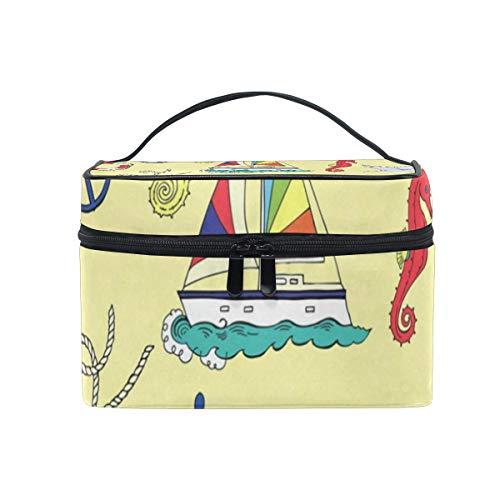 117433161c21 Cosmetic Bag Nautical Pattern Womens Makeup Organizer Girls Toiletry Case  Box Lazy Zip Bag