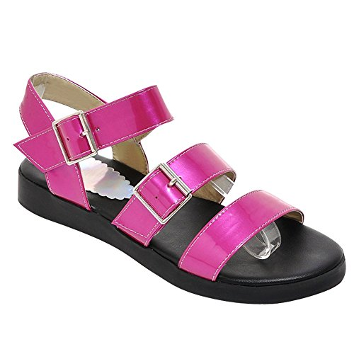 Charm Foot Womens Open Toe Ankle Strap Buckle Flats Sandals Rose
