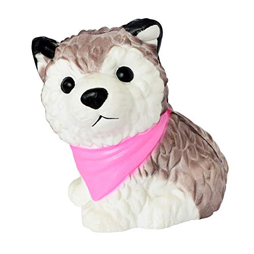Buyeverything Cute Kawaii Husky Dog Squishy Soft Puppy Animal Jumbo Squishies Slow Rising Scented Squeeze Stress Relief Ball Doll Fun Toys for Kids Adults Party Favors Halloween (Pink) -