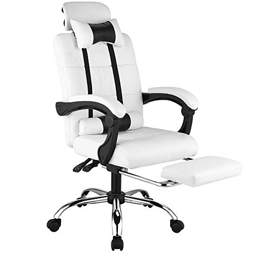 (Metcandy High Back Reclining Office Chair Adjustable Headrest Rotating Lifting Linkage Armrest Shrinking Foot Bedroom Pu Leather Chair,White,with footrest)