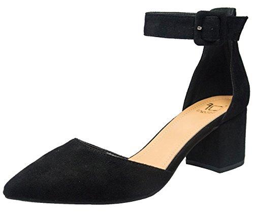 Betani Women's Strappy Block Heel Pointed Closed Toe Sandal (9 B(M) US, Black)