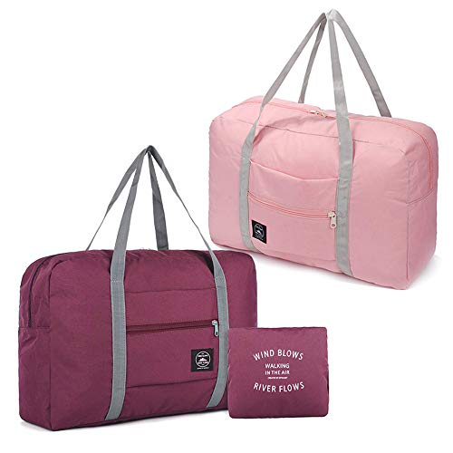 2 Pack Foldable Travel Duffel Bag with Fixed on the Trolley Case, Waterproof Luggage Travel Bag, Lightweight Carry On Bag for Sports, Vacation, Shopping, Gym (wine red, light pink)