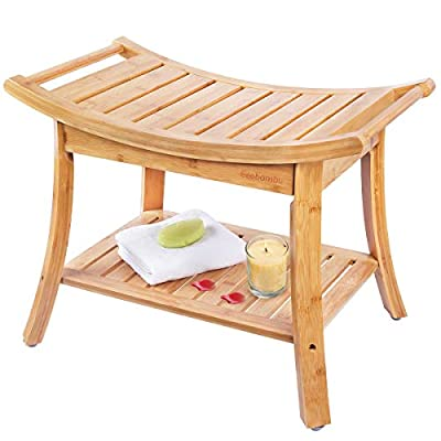 Shower Bench, Spa Seat with 2-Tire Storage Racks Shelf, Durable and Stable Indoor &Outdoor Bench with 100% Bamboo, Nice Curving Bench- by Ybj-ake