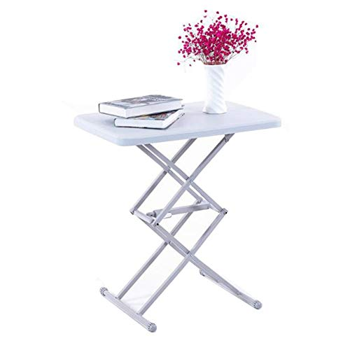 Folding Tables Portable Table Adjustable Height Personal Reliable Steel Tube Garden Home Space Saving Furniture CJC (Color : White) ()