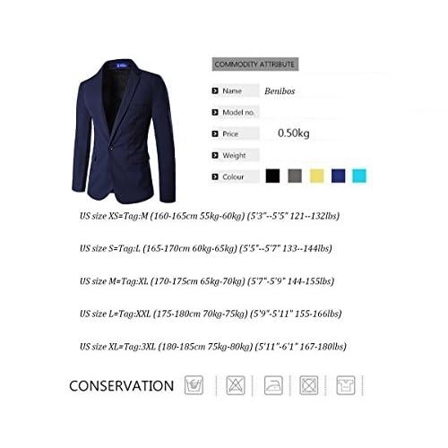 Sheng Xi Mens Slim Fit Long Sleeve One Button Business Suit Blazer Coat