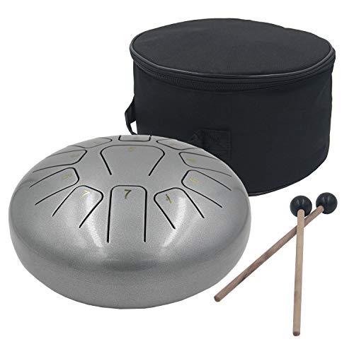 Steel Tongue Drum 11 Notes 10 Inches Tank Drum, Handpan Drum, Chakra Drum, Percussion with Padded Travel Bag and Mallets (10 Inches, Silver Grey)