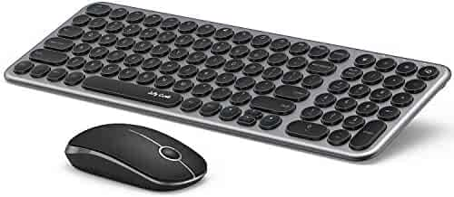 Wireless Keyboard and Mouse Combo, Jelly Comb 2.4G Slim Ergonomic Quiet Keyboard and Mouse with Round Keys for Windows, Laptop, PC, Notebook-Black and Gray