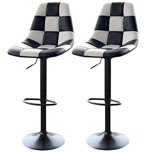 Footrest Style Adirondack (AmeriHome Checkered Racing Bar Chairs - Set of 2)