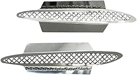"""2PC 5/"""" x 5/"""" ABS Chrome Side Fender Intake Air Vent w// Mesh Insert Trim For Dodge"""